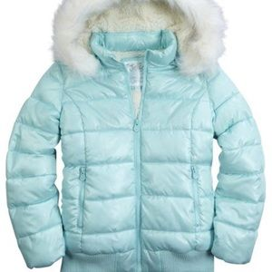 Light blue coat with fur hood
